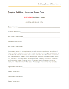 Oral History Consent Form