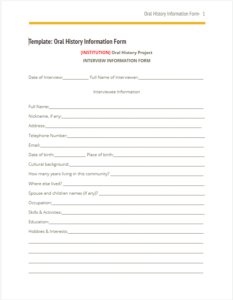 Oral History Info Form